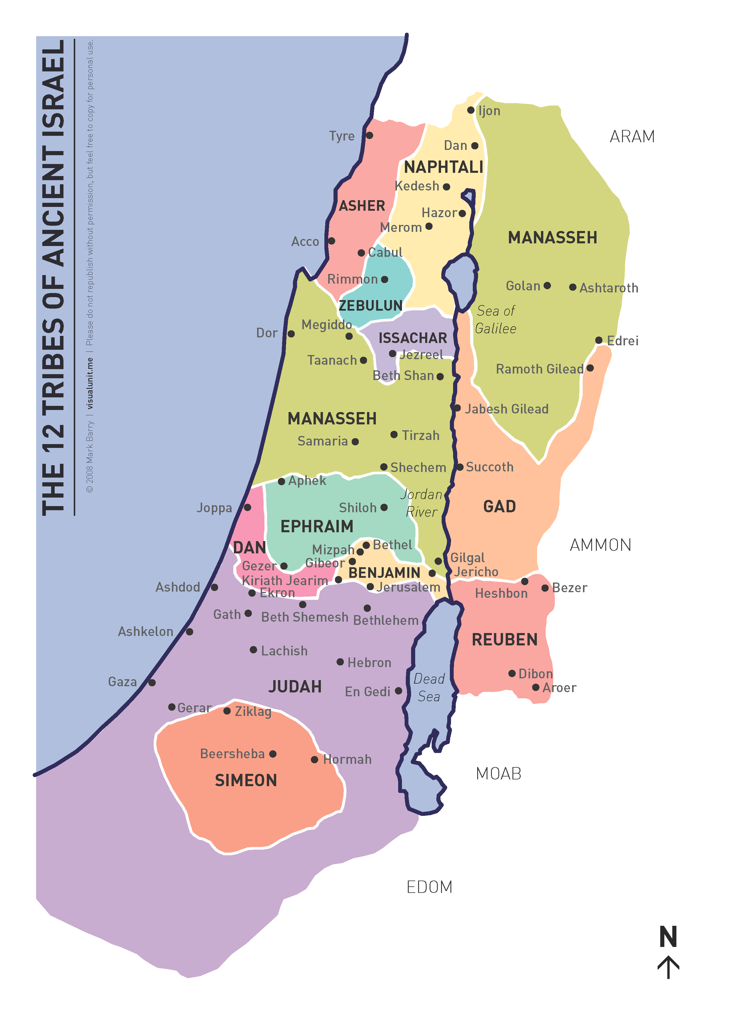 Map Of Ancient Israel Tribes Map of the 12 tribes (updated) | VISUAL UNIT